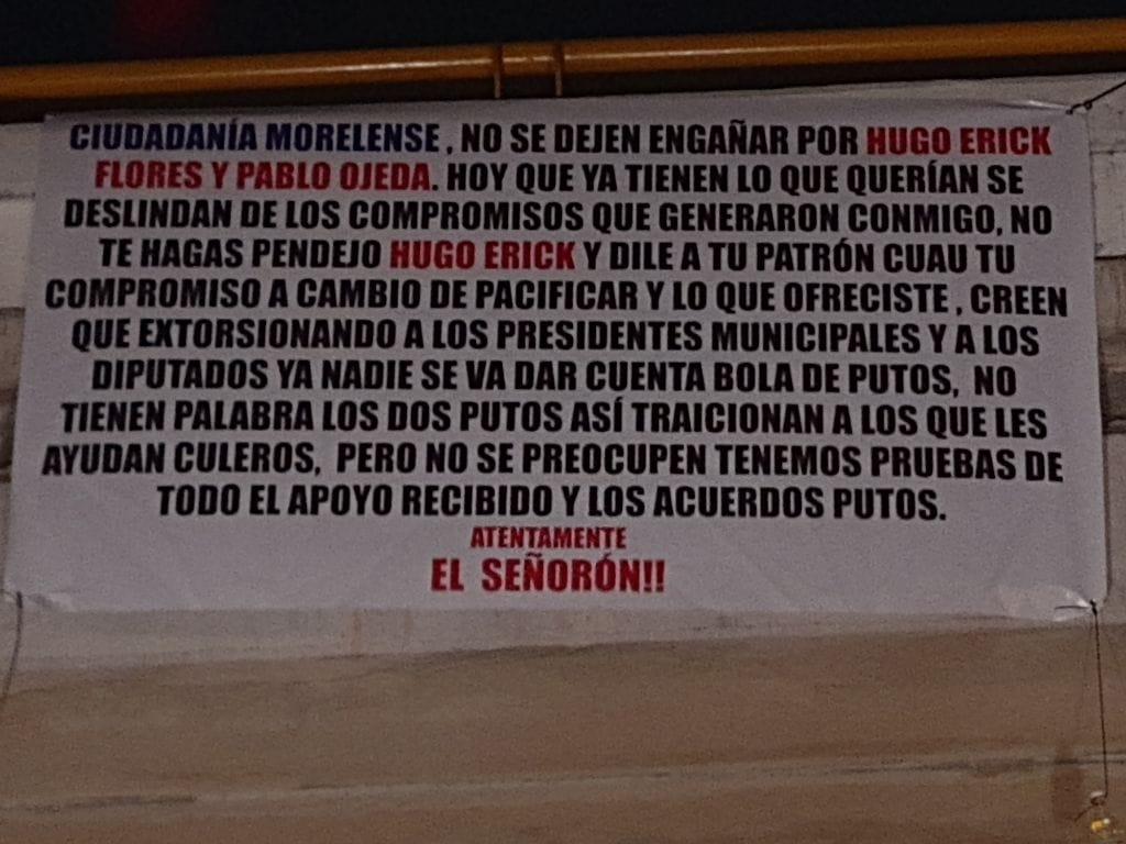 Aparece manta con amenazas contra Hugo Eric Flores y Pablo Ojeda en Tabachines