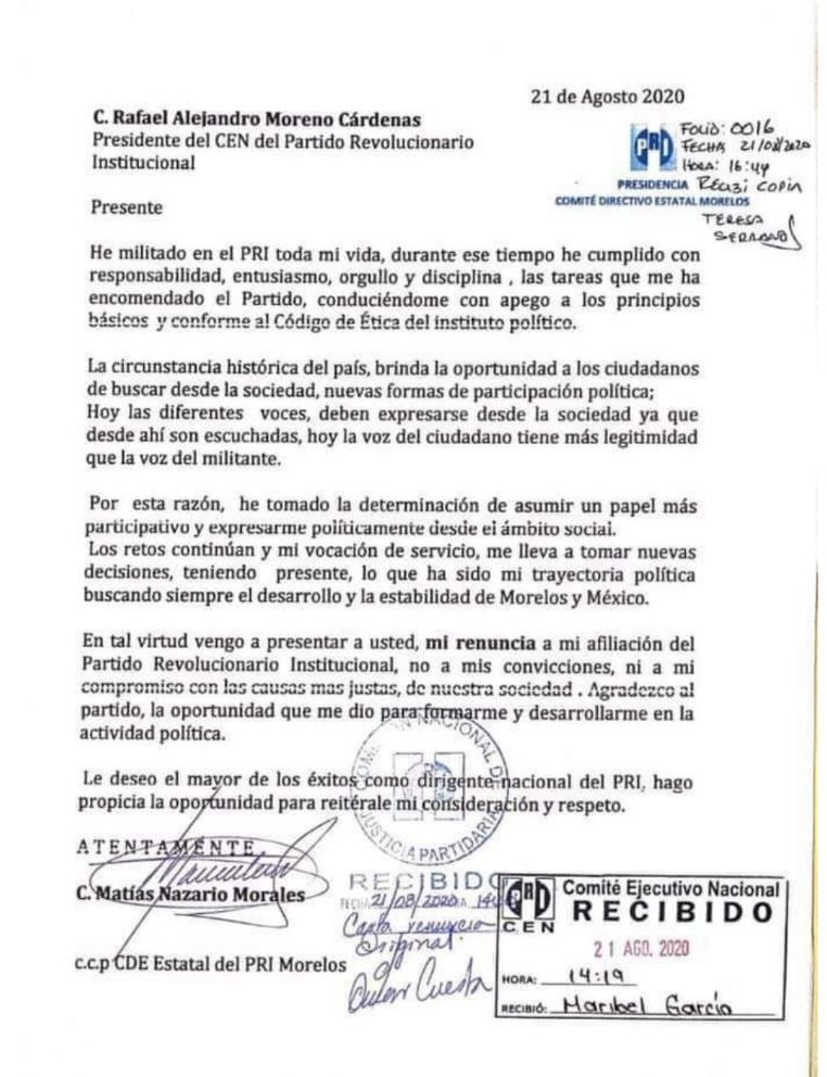 Renuncia Matías Nazario al PRI