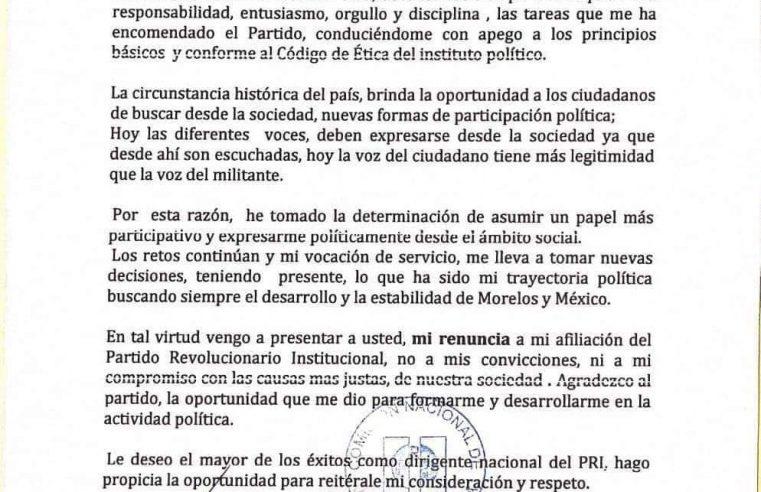 Matías Nazario presenta su renuncia al PRI