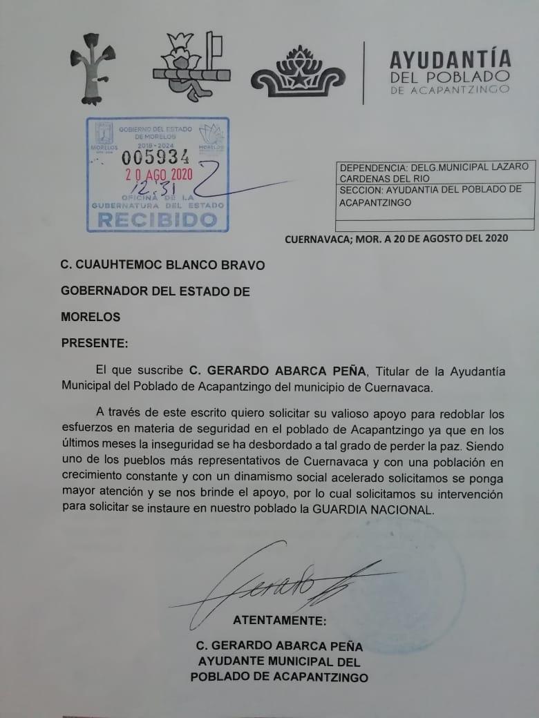Solicitan reforzar seguridad en el poblado de Acapantzingo