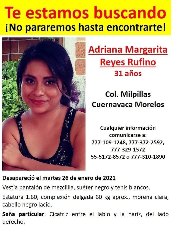 ADRIANA MARGARITA REYES RUFINO DESAPARECIÓ EL MARTES 26 DE ENERO DEL AÑO PRESENTE